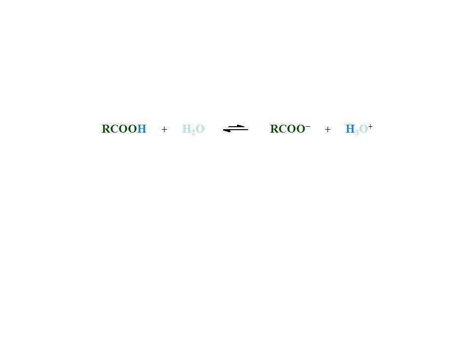 RCOOH + H2O RCOO– + H3O+ [RCOOH] [RCOO–] [H3O+] Ka =